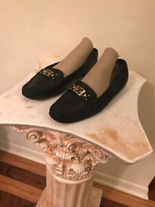 Women's Rare Vintage Designer Escada Black Leather  GOLD LOGO Loafers Flats 8
