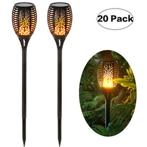 20X LED Solar Path Light Torch Flame Flickering Waterproof Outdoor Garden Path