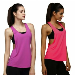 Women Gym Sports Yoga Vest Solid Tank Tops Fitness Quick-dry Blouse T-Shirt US