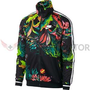New Nike Mens Palm Tree All Over Print Track Jacket CyberBlackWhite All Sizes