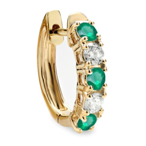 0.50 CT 18K Yellow Gold Round Green Emerald & White Diamond Hoop Earring 1PC