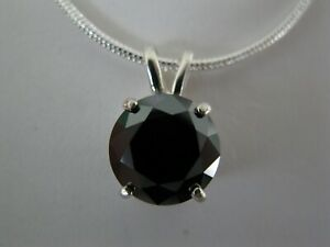 2.50ct REAL NATURAL BLACK DIAMOND PENDANT NECKLACECERTIFICATEFREE DIA TESTER