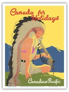 Canada Holidays - Canadian Pacific 1937 Vintage Railroad Travel Poster Print