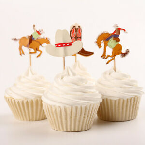 Cowboy Western Theme Party Cupcake Toppers/ Food Picks Decoration, Set Of 24