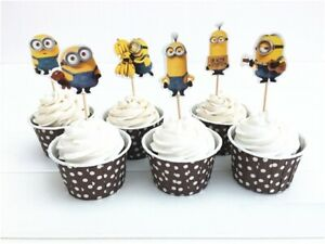 Minions Cupcake Toppers/Food Picks Party Decorating Favor Set of 24