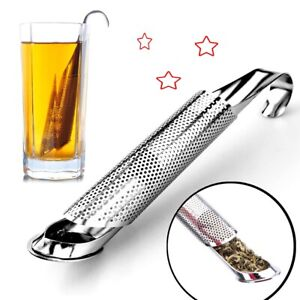 STAINLESS MESH STICK PIPE TEASTICK STRAINER STEEPER TEA SPOON INFUSER W HOOK