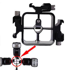 3 in 1 All-metal Tri-Hot Shoe Mount Adapter for Flash Light Stand