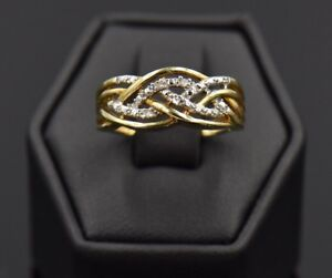 Braided Entwined Genuine Diamond Pave 18k Gold Sterling Silver Ring Band 4 Row 7