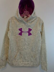 UNDER ARMOUR Girl Pullover Hoodie Youth Large CamoPurple Big Logo