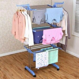 3 Tier Folding Clothes Airer Laundry Dryer Rack In/Outdoor Drying Rail Hanger BP