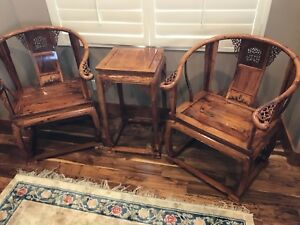 Qing Dy Temple HaiNan Huanghuali old-fashioned wooden armchair and table set.