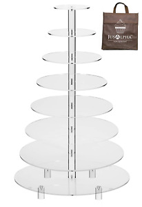 Jusalpha 8 Tier Wedding Party Acrylic Round Cake Stand Cupcake Stand Tower For