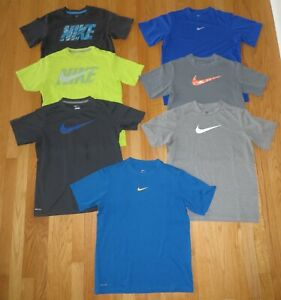 7 NIKE DRI FIT SPORT ATHLETIC SHORT SLEEVE RUNNING SHIRTS TOPS YOUTH LARGE L