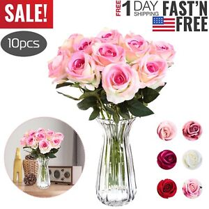 10 Pcs Real Touch Silk Artificial ROSE Flowers Gluing PU Fake Flower Home Decora