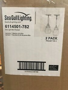 2 Pack Lot  Sea Gull Lighting Belton 1-Light Heirloom Bronze Mini Pendant