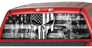 AMERICAN flag punisher SKULL Rear Window Graphic Decal Pickup Truck detective $59.00