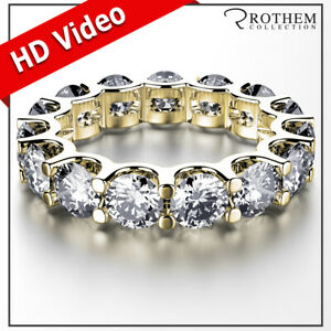 Womens Birthday 7.50 CT D SI2 Diamond Eternity Ring Yellow Gold Wedding Band 029