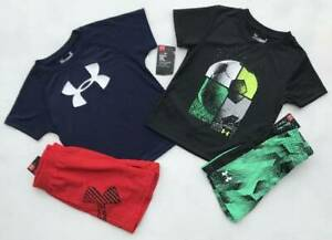 BOY'S SIZE 2T UNDER ARMOUR SOCCER & NAVY OUTFITS SHIRTSSHORTS NWT