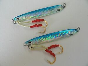Knife Jigs 3.5oz 100g Blue 2 Pieces Vertical Butterfly Saltwater Fishing Lures
