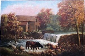 Antique Delcourt Oil Painting Country Scene w Stream & Cows