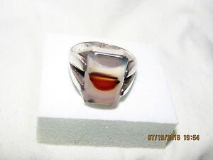 Sale! SIGNED Dendrite Agate 925 Sterling Silver Mens Ring Sz 11  9.8g