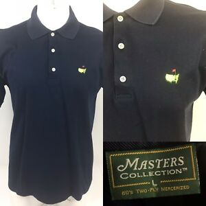 Masters Collection 60s Two Ply Mercerized Cotton Navy Blue Polo Shirt Mens L