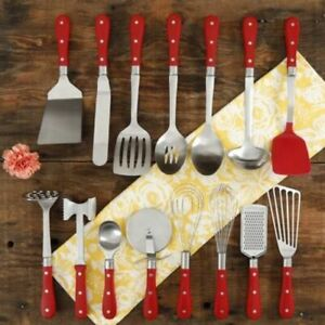 Pioneer Woman 15-Piece Kitchen Cooking Utensil Tool and Gadget Set, Red - NEW!