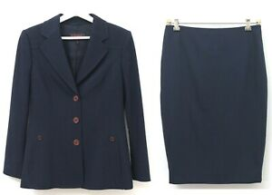 ESCADA Designer 2 Piece Stretch Wool Suit Jacket & Skirt Set Navy Size 36 US 6