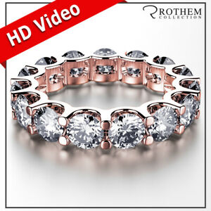 Womens Birthday 7.50 CT D SI2 Diamond Eternity Ring Rose Gold Wedding Band 030A