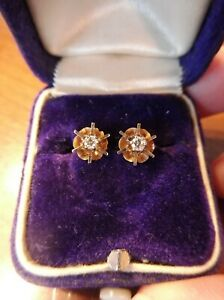 Antique Estate 14k Yellow Gold Diamond Stud Earrings Screw Back (644)