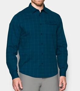 Under Armour UA Backwater Outdoor Fishing Golf Shirt Blue Plaid 1290754-997 Cool