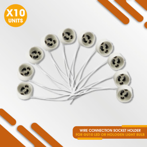 10 Pcs - Wire Connection Socket Holder for GU10 LED Light or Hologen Light Bulb