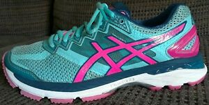 Womens ASICS GT-2000 4 Turquoise Pink Autumn Glow Running Shoes Sz 6.5 sneakers