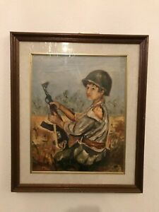 CHILD WITH GUN & HELMET SOCIALIST REALISM OIL ON CANVAS PAINTING BY MIOR 1973