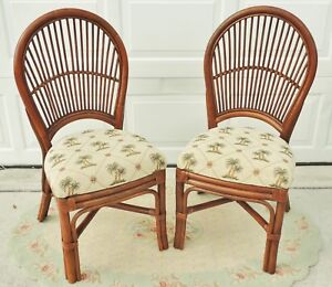 Beautiful Pair Rattan Leather Wrapped Upholstered Palm Trees Dining Side Chairs
