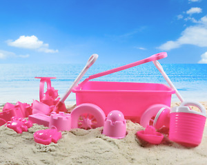 Liberty Imports Pink Princess Beach Wagon Toy Set for Kids with Castle Molds, 14