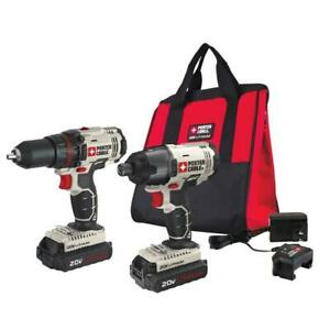 PORTER-CABLE 20V MAX Cordless Drill and Impact Driver Combo Kit - PCCK604l2