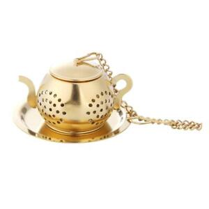 Gold Stainless Steel Tea Spoon Infuser Holder Filter Tea Strainer with Base H1