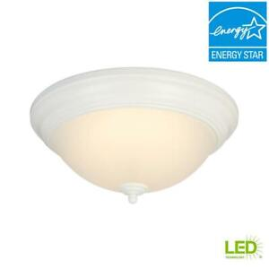 Hampton Bay 13in White Integrated LED Flush Mount w/Frosted Glass Shade
