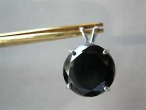 13.10ct REAL BLACK DIAMOND PENDANT NECKLACECERTIFICATE FREE DIAMOND TESTER