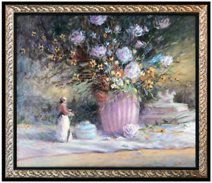 Tom Perkinson Original Oil Painting On Canvas Signed Floral Still Life Framed