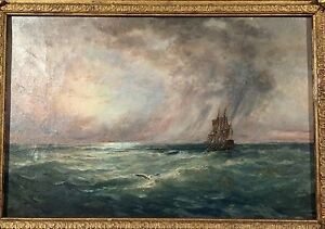NICE EARLIER 20TH CENTURY OIL ON CANVAS SEASCAPE SIGNED A. BUTLER $750.00