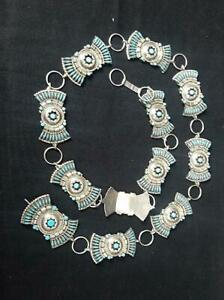 Zuni Concho Belt  Sterling  Inlay Turquois  183g  35