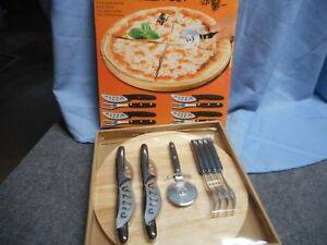 NIB 10 PC PIZZA SET CUTTING BOARD PIZZA CUTTER FORKS KNIVES 12quot;