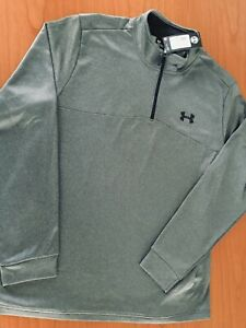 Men's Under Armour Cold Gear Fleece 14 Zip Pullover Top Loose Fit Gray Size 3XL