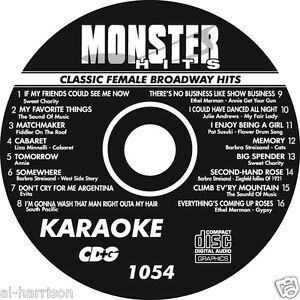 KARAOKE MONSTER HITS CD+G CLASSIC FEMALE BROADWAY HITS #1054