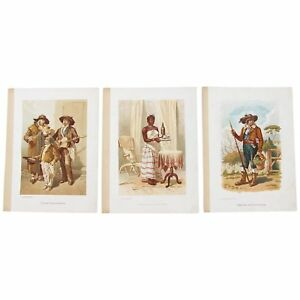 Early 20th Century Set of 3 Antique Prints of Portuguese Costumes