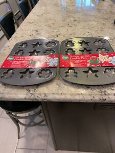 Two Wilton  12 Cavity Each Non Stick Cookie Pans Christmas Holiday Designs