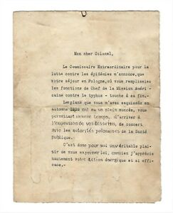POLAND CHIEF OF STATE JOZEF PILSUDSKI SIGNATURE LETTER to COL GILCHRIST US ARMY