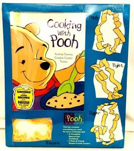 Cooking with Pooh Cookbook Yummy Tummy Cookie Cutter Treat Set NEW 1995 VTG